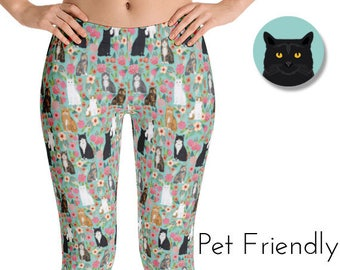 4f76356e6011b Cat Lady Floral Leggings - cat leggings, cat lady leggings, floral leggings,  cute leggings, womens leggings, pet friendly leggings