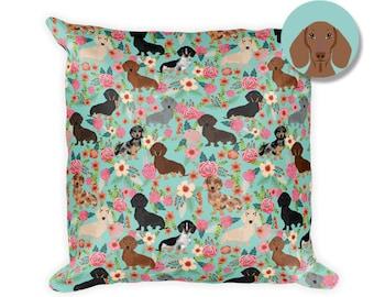 "Dachshund Floral Square Pillow - 18""x18"""