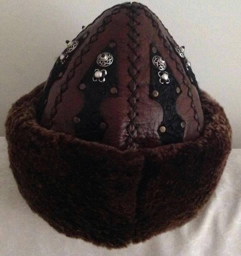 Leather Winter hat Turkish Hat,Unisex Hats,Mid Century Hats,Anatolian HAT Handmade Hats,Resurrection Medieval Hat,Turkish Handmade Fur Hat
