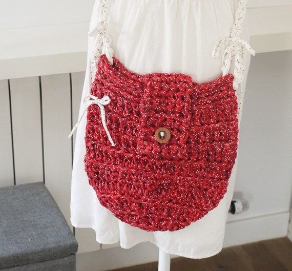 sac boh me chic sac au crochet de couleur rouge sac etsy. Black Bedroom Furniture Sets. Home Design Ideas