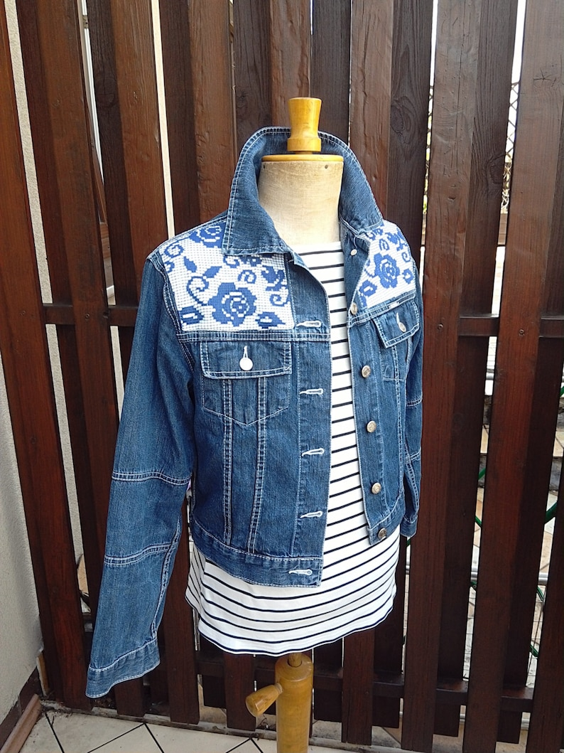 6d03a1a6d12b M Bohemian upcycled clothing denim jacket Romantic lace jacket | Etsy