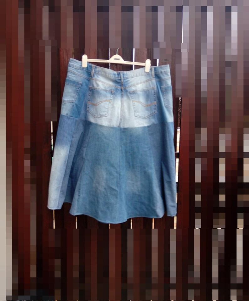 dcf355f62b12 2 x 3 X lang verrückt Patchwork-Jeans-Rock. Damen, Upcycled, Boho chic,  blau, Land-Vintage-Stil. Eco-Friendly, handgefertigte Kleidung für Frauen
