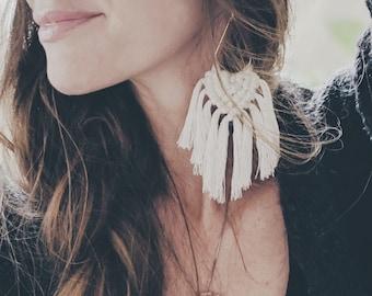 Light as a Feather // Fringe Macrame Earrings // 18k Gold Fringe Teardrops