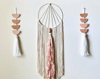 Bohemian Silk Wall Hanging // Hoop Macrame Wall Hanging w/ Silk Tassel