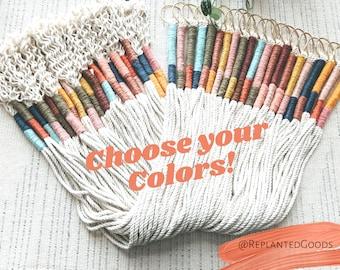 Color Block Rope Planter // Minimalist Hanging Planter // Choose Your Color Macrame Planter // Colorblock Planter