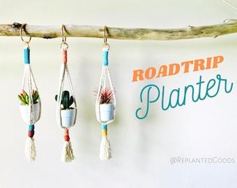 Rearview Mirror Macrame Planter // Cactus // Succulent Planter // Color Block Rope Planter // Mini Planter // Car Planter