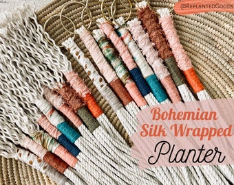 Bohemian Silk Wrapped Planter // Color-Block Rope Planter // Choose Your Color Macrame Planter // Colorblock
