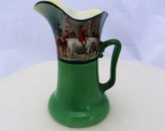 Vintage Royal Bayreuth Hunting Scene Porcelain Creamer Pitcher