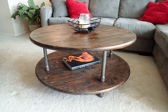 Round Rustic Industrial Pipe Coffee Table | Etsy