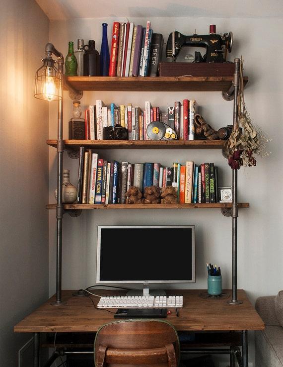 bureau de tuyau industriel avec tag res unit et lampe. Black Bedroom Furniture Sets. Home Design Ideas