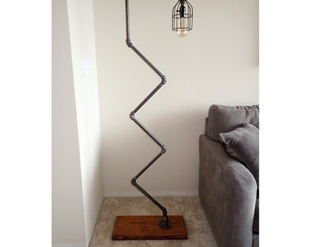 Modern Industrial Pipe Floor Lamp with Vintage Edison Bulb
