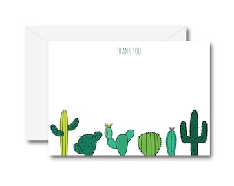 10 x Thank You Note Card Set // Note Cards Thank You Cards Cactus Cacti Western Wild West Cowboy Envelope Print Gift Card