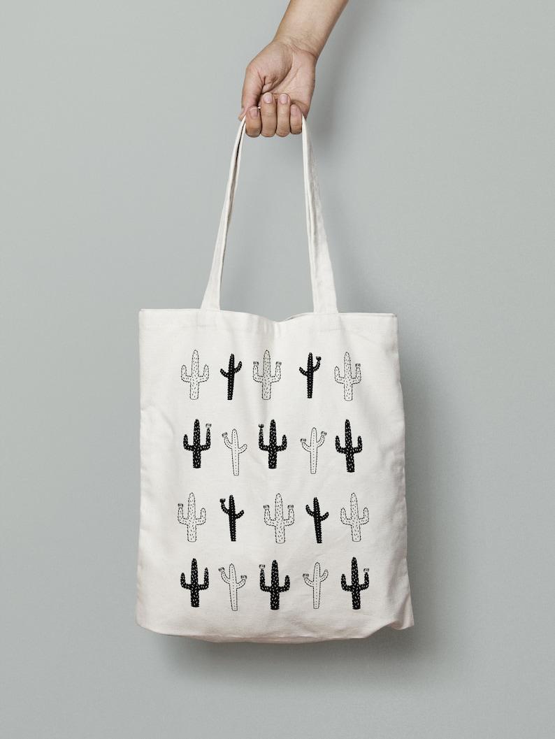 ed3fa92fa Wild Cactus Tote // Canvas Bag Cactus Shopper Tote Bag | Etsy