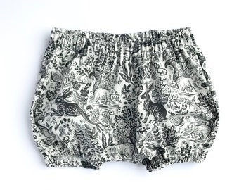 4e6fefb6c67f Wildwood Bloomers. Classic Bloomers. Forest Theme Baby. Black and White  Rabbit Bloomers. Rifle Paper Co. Handmade Unisex Baby Bloomers.