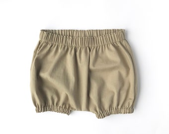 ed623c5cfe6a Bark Bloomers. Unisex Classic Bloomers. Taupe Bloomers. Boys Diaper Cover.  Handmade Unisex Baby Bloomers. Soft Denim Shorts.