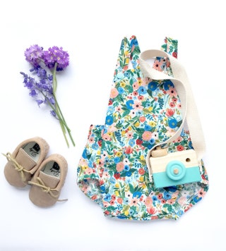 Floral Baby Romper in 'Garden Party' print by Rifle Paper Co, Baby Girl Outfit, Designer Fabric Baby Clothes, Luxury Baby Girl Gift