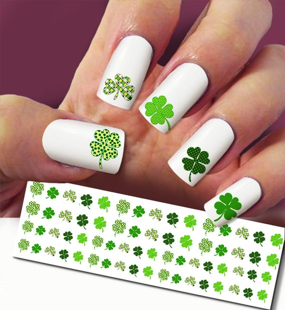 Four Leaf Clover Nail Decal Clover Nail Art 60 Nail Decals Etsy