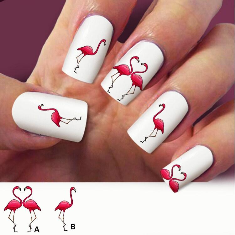 Flamingo nail decals, birds, nail art, Nail Art design, Water Slide ...