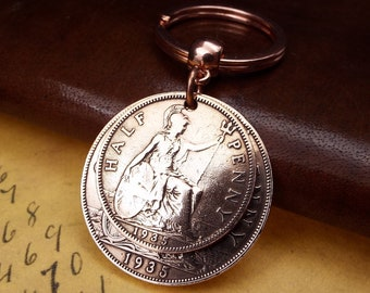 CHAIN 1911 to 1949 PICK YOUR YEAR PENNY FARTHING COIN KEY RING
