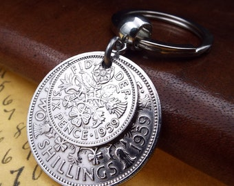 1959 Two And Six Double Coins Keychain 60th Birthday Gift 2 Shillings Sixpence Boxed