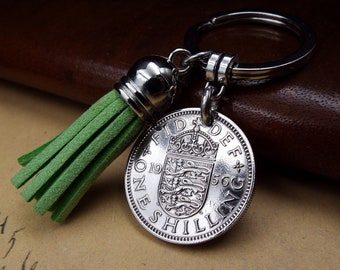 1956 Birth Year Half Penny Coin Birthday Anniversary Keyring Gift Keychain