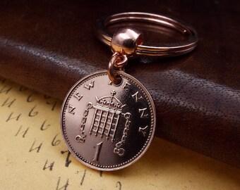 1979 Penny Small British Coin Keyring Keychain 40th Birthday Gift Anniversary Incl FREE Box
