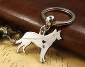 Stainless Steel German Shepherd Dog Heart Silhouette Keychain Dog Keyring Gift. Incl FREE Gift Box
