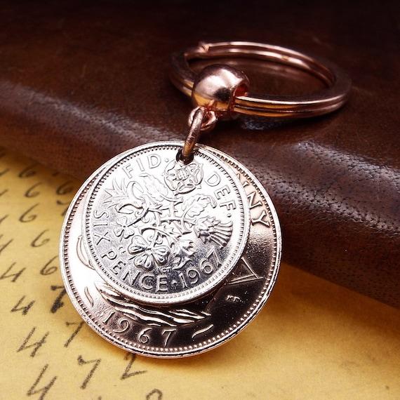 1967 keyring Penny  Coin 51st Birthday gift box Free UK P/&P