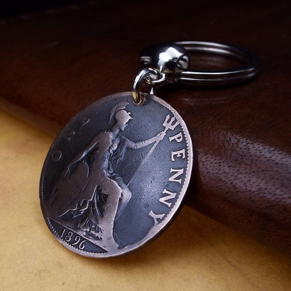 CHOOSE YOUR YEAR 1971 TO PRESENT 1p ONE PENCE PENNY COIN KEYCHAIN KEY RING
