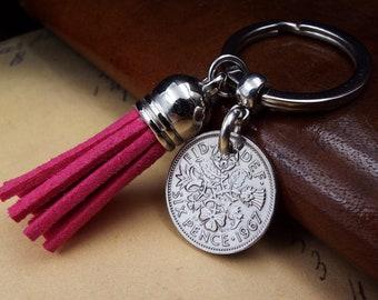 1967 Sixpence Pink Tassel Keyring 54th Birthday Gift Birthyear Keepsake Sentimental VIntage Lucky Coin Keychain Him Her Men Women in the UK