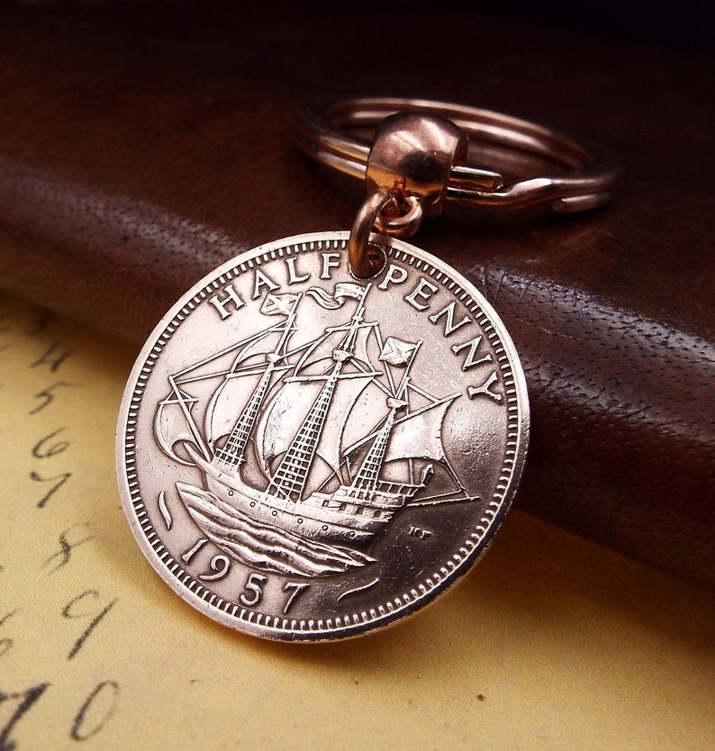 1957 British Ha'penny Half Penny Old Vintage Coin Keychain 62nd Birthday  Gift  Incl FREE Gift Box