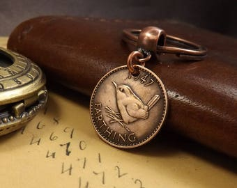 Genuine 1947 TOP DRILLED British Farthing Old Vintage Wren Coin Keychain 71st Birthday Gift.  Boxed