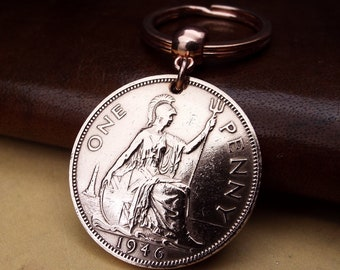 1946 British Penny Old Vintage Coin Keychain 75th Birthday Gift Lucky Penny Gifts for Men and Women Made in the UK,