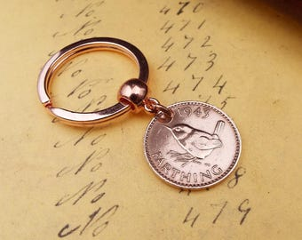 1943 COMPLETE DATE British Farthing Old Vintage Wren Coin Keychain 75th Birthday Gift.  Boxed