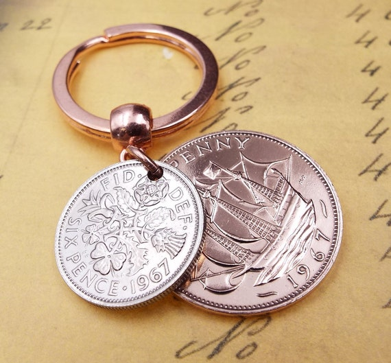 Free UK P/&P 51st Birthday 1967 keyring Penny  Coin gift box
