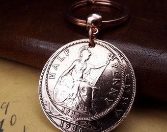 1936 British Penny Hapenny Double Coin Keychain Gift Lucky Penny 84th Birthday Gift.