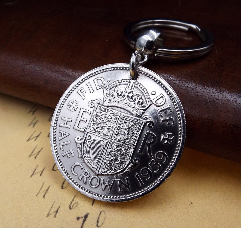 1959 UK Half Crown Coin Keychain 60th Birthday Gift  Incl FREE Gift Box