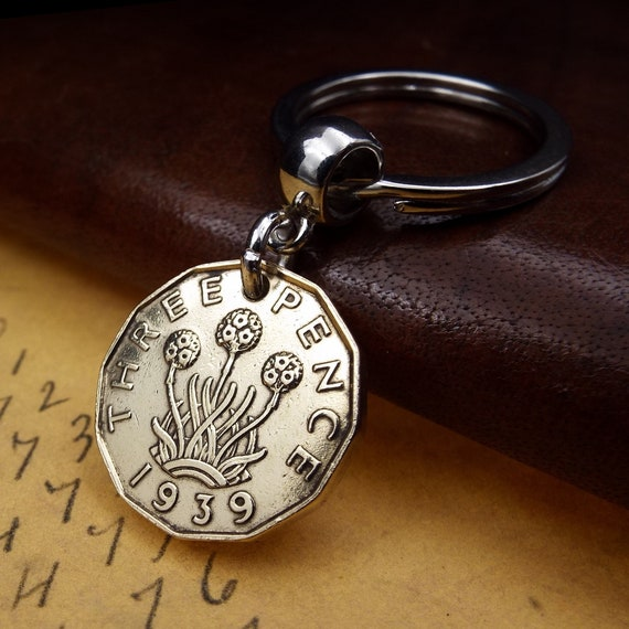 Gift Ready Comes in Gift bag 1967 British Brass Threepence Coin Keyring Coin Keychain Handbag Charm Birthday Gift
