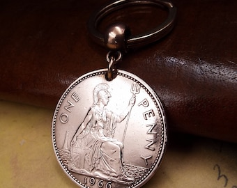 1966 Lucky British Penny Coin Keyring 55th Birthday Gift.  Birth Year Keepsake Keychain