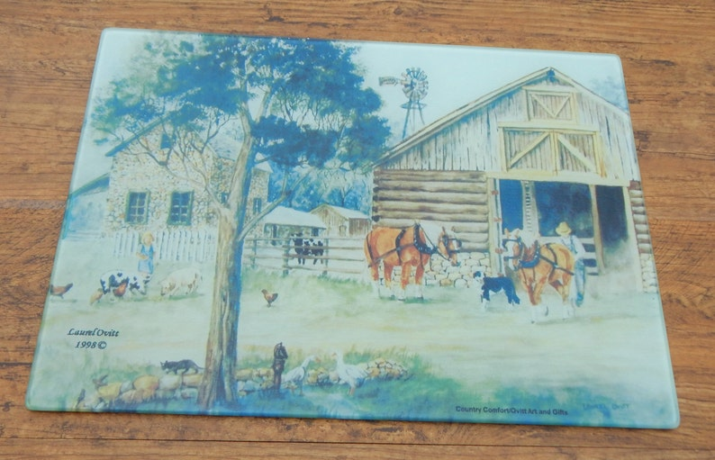Country Comfort Large Glass Cutting Board with MT Artist Laurel Ovitt/'s prints Home Sweet Home Western Made in Montana Chevy Truck