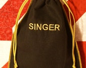 Singer sewing machine foot pedal or accessory draw string bag VINTAGE INSPIRED