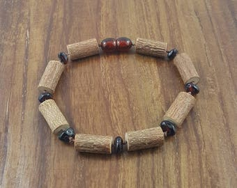 "8"" Large Hazelwood Bead sand Dark Cherry Baltic Amber Adult Bracelet"