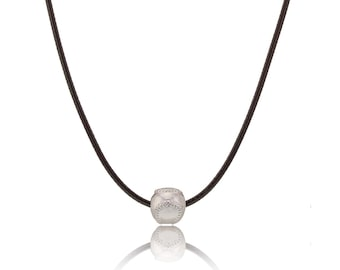 Baseball Charm Pendant with leather Necklace