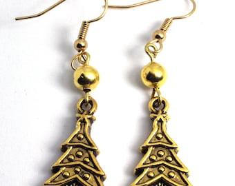 Dangle Earrings, Gold Tree Earrings, Drop Earrings, Christmas Earrings, Charm Earrings, Holiday Earrings, Holiday Jewelry, Tree, Gold