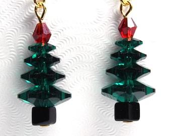 Swarovski Christmas Earrings, Tree Earrings, Charm Earrings, Swarovski Christmas Tree Earrings