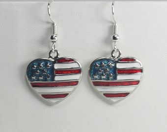 American Flag Heart Earrings, Patriotic Jewelry, Fourth of July
