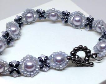 Swarovski Bracelet, Beaded Bracelet, Lavender Bracelet, Swarovski Sunflower Beaded Bracelet