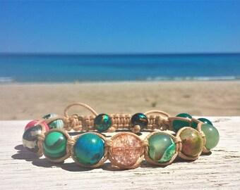 Summer of Love - Women's Shamballa Bracelet - Macrame Wrap Bracelet - Women's Yoga Bracelet - Mala Beads Bracelet - Gemstone Energy Bracelet