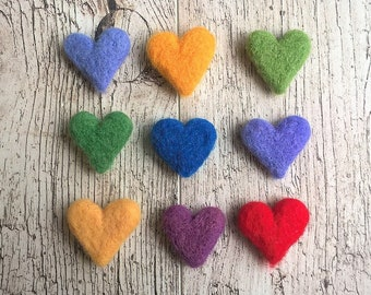 Wool Felt Hearts - Pick Your Own Colors - Jumbo Felt Hearts - Small Felt Hearts - Pick Your Size