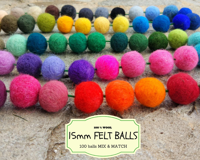100 Wolle Filz Perlen Mix und Match 15 mm/15 cm Wollfilz | Etsy